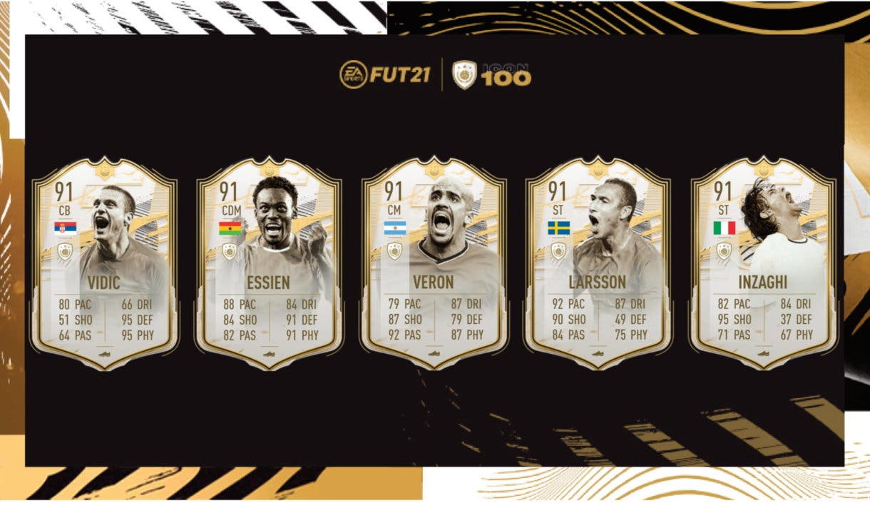 FIFA 21 Ultimate Team Iconos Moments Vidic, Essien, Verón, Larsson, Inzaghi