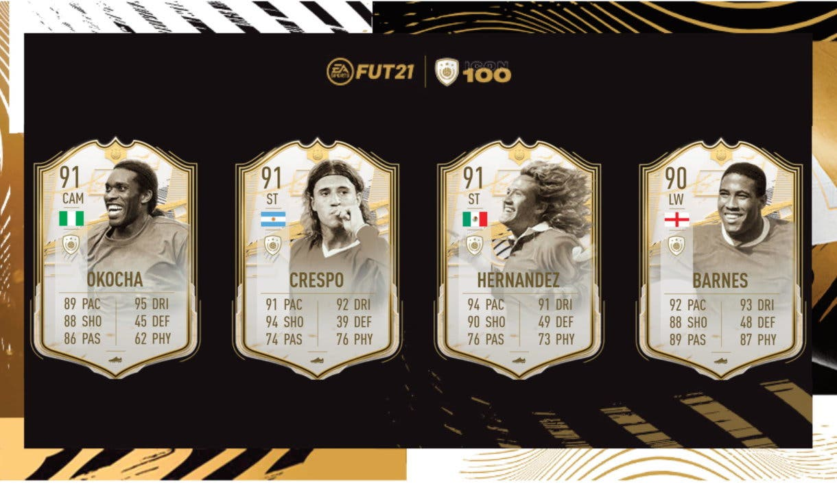 FIFA 21 Ultimate Team Iconos Moments Okocha, Crespo, Luis Hernández, John Barnes
