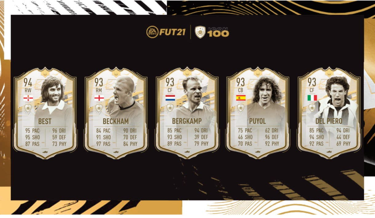 FIFA 21 Ultimate Team Iconos Moments Best, Beckham, Bergkamp, Puyol, Del Pierio