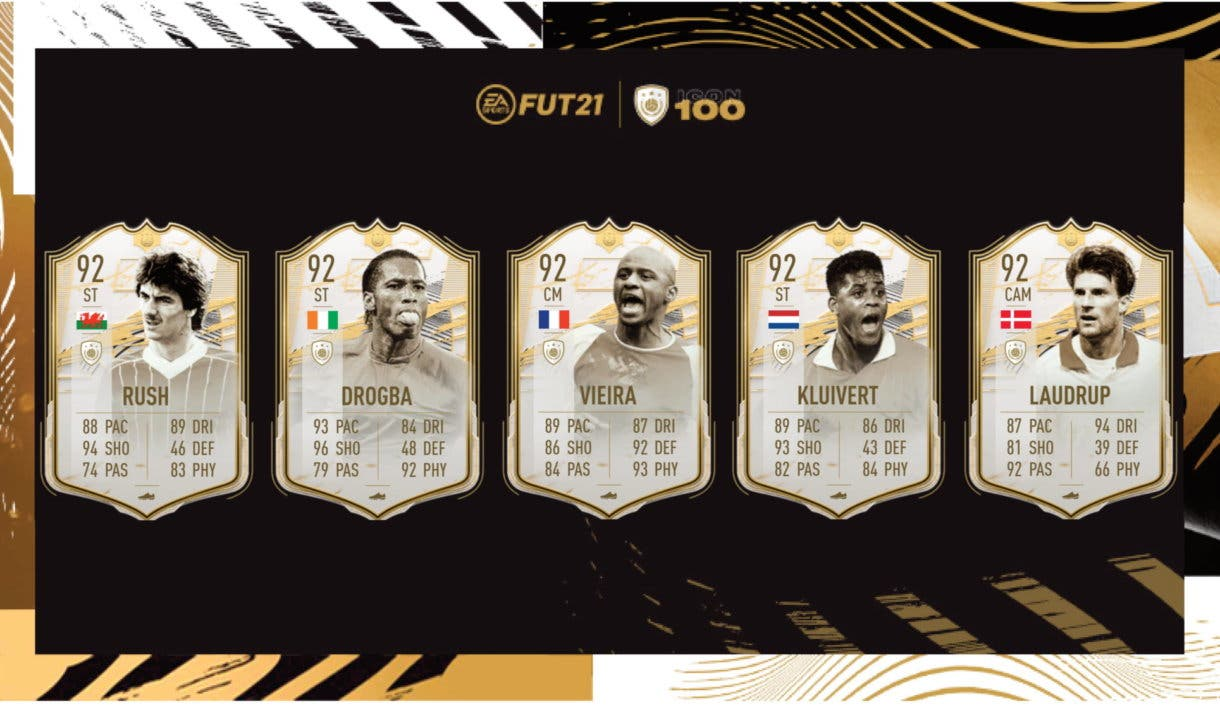 FIFA 21 Ultimate Team Iconos Moments Rush, Drogba, Vieira, Kluivert, Laudrup