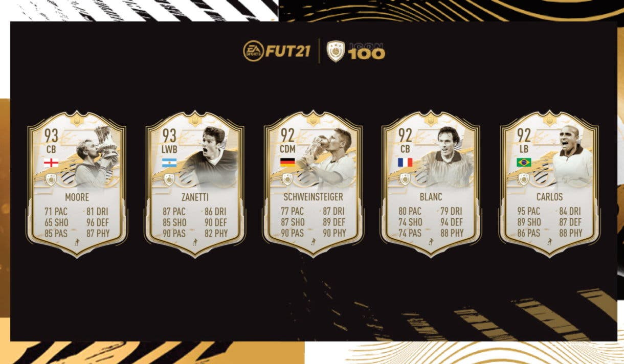 FIFA 21 Icons Moments segundo set Moore, Zanetti, Schweinsteiger, Roberto Carlos