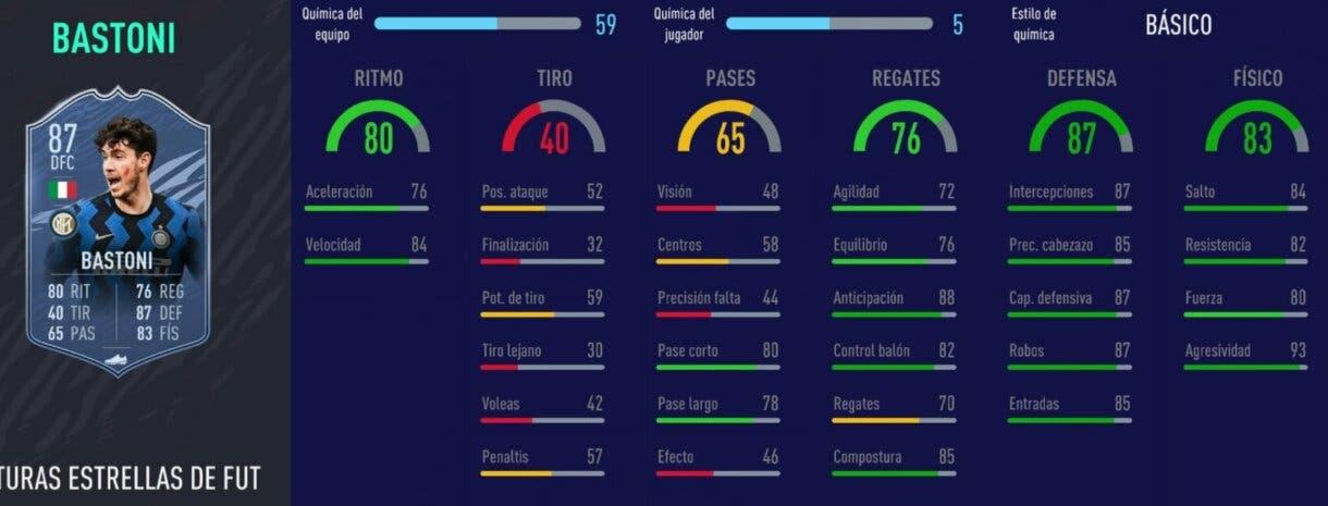 FIFA 21 Ultimate Team plantilla competitiva para FUT Champions y Division Rivals stats in game de Bastoni Future Stars