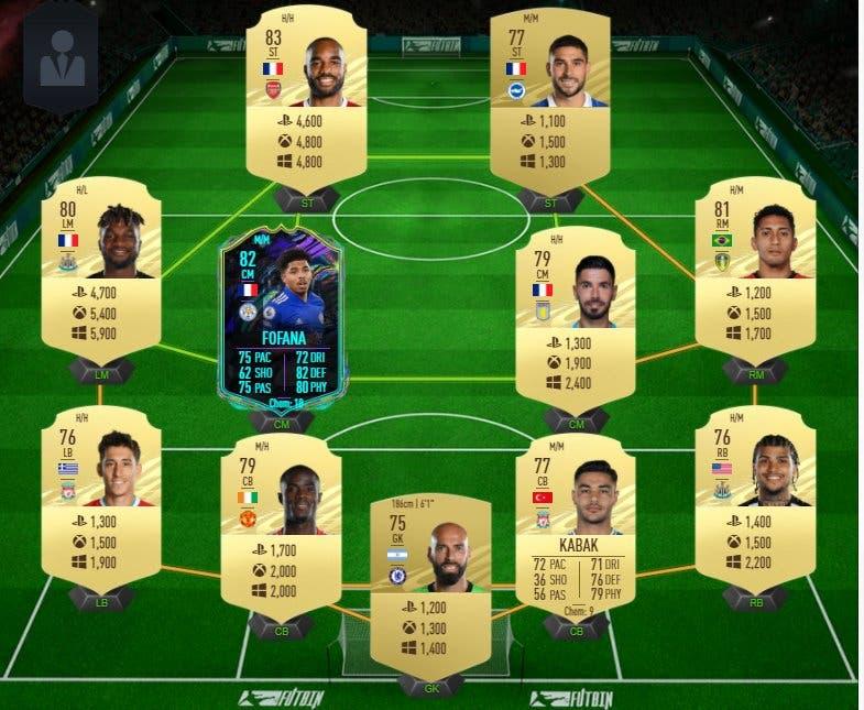 FIFA 21 Ultimate Team plantilla barata para conseguir a Fofana Future Stars y Rúben Neves Jugador de Liga precios.