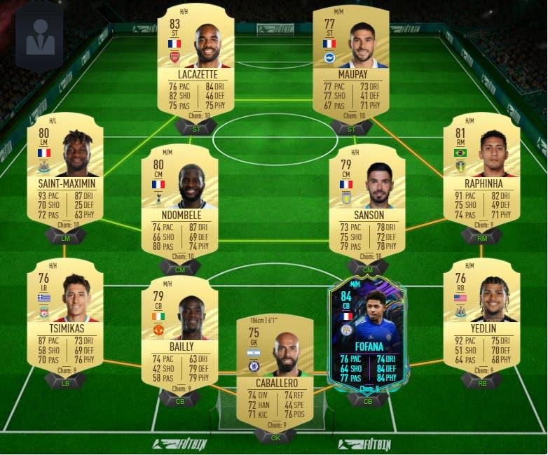 FIFA 21 Ultimate Team plantilla barata para conseguir a Fofana Future Stars y Rúben Neves Jugador de Liga.