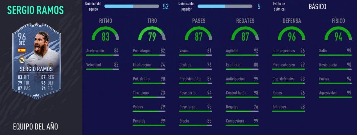 FIFA 21 Ultimate Team mejores centrales Liga Santander para cada presupuesto stats in game Sergio Ramos TOTY
