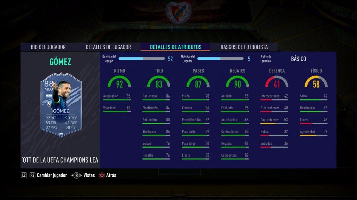 FIFA 21 Ultimate Team alternativas baratas a Butragueño Icono stats in game Gómez TOTGS