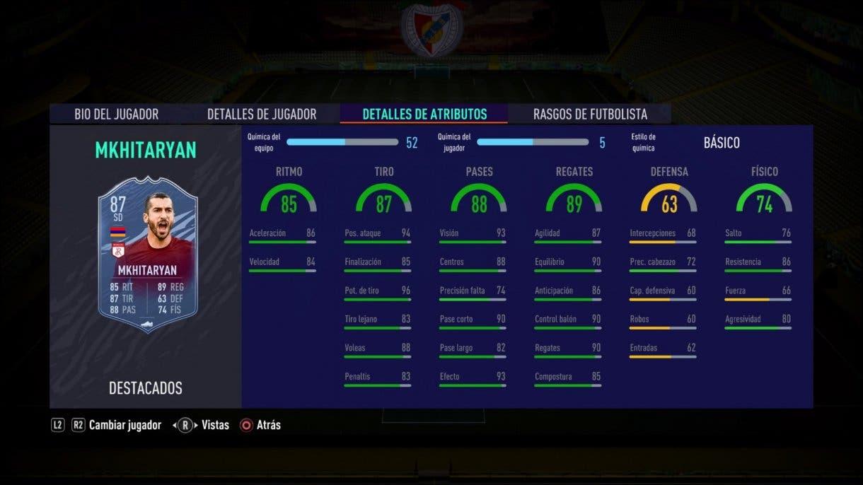 FIFA 21 Ultimate Team alternativas baratas a Butragueño Icono stats in game Mkhitaryan Headliners