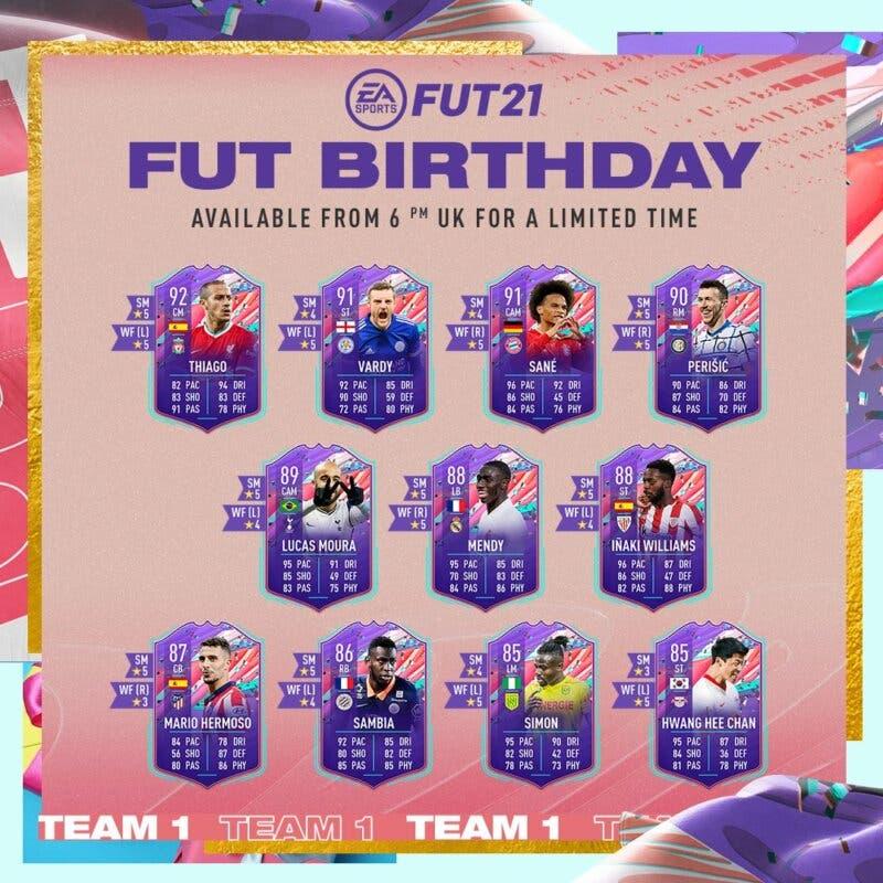 Primer equipo FUT Birthday de FIFA 21 UItimate Team