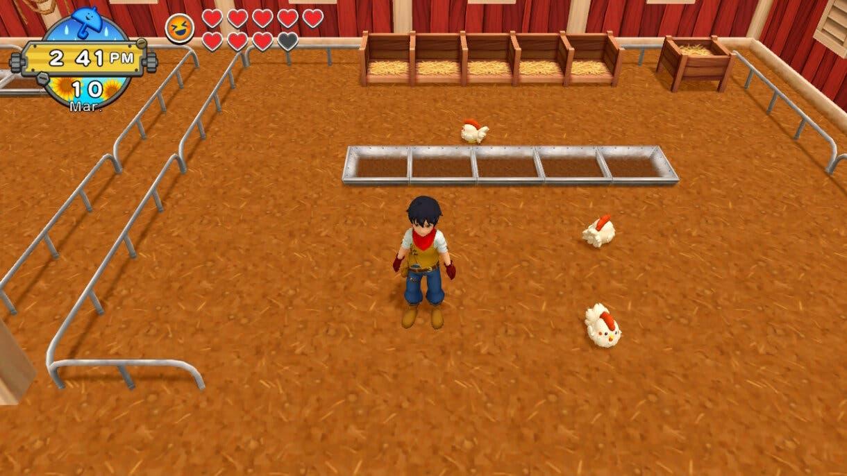 Harvest Moon Un Mundo Unico establo gallinas