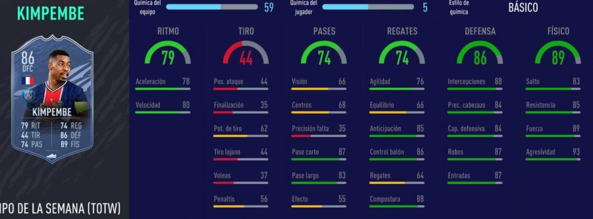 FIFA 21 Ultimate Team plantilla competitiva para FUT Champions y Division Rivals stats in game de Kimpembe SIF