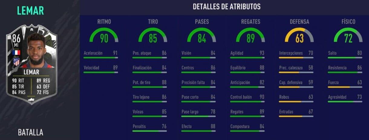 Stats in game de Thomas Lemar Showdown. FIFA 21 Ultimate Team