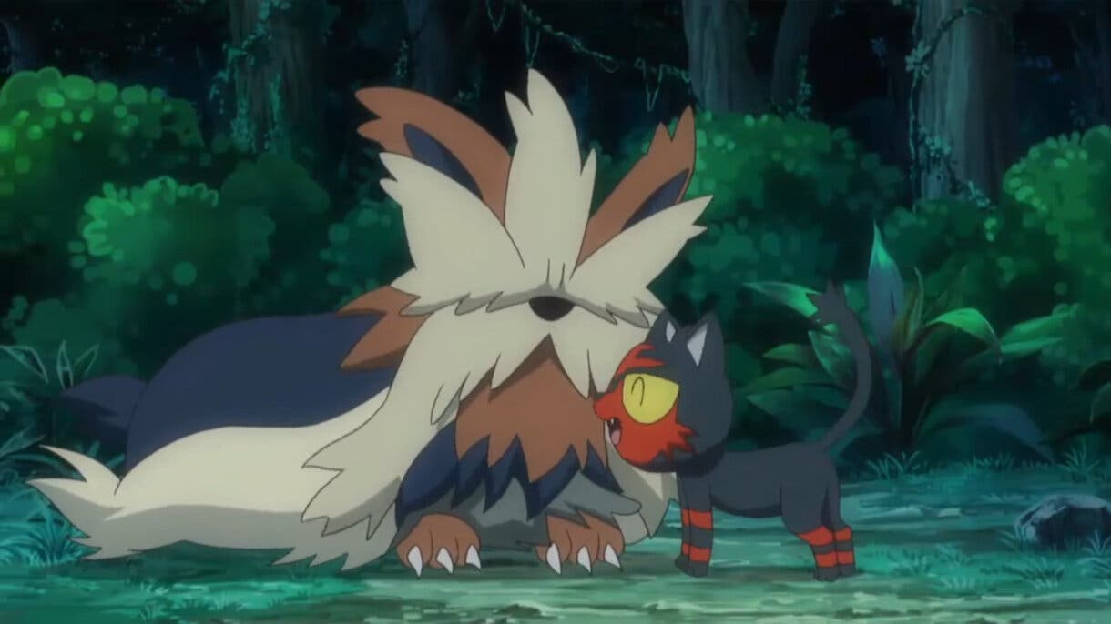 Litten y Stoutland anime de Pokemon