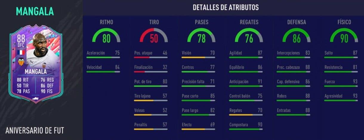 Stats in game de Mangala FUT Birthday. FIFA 21 Ultimate Team