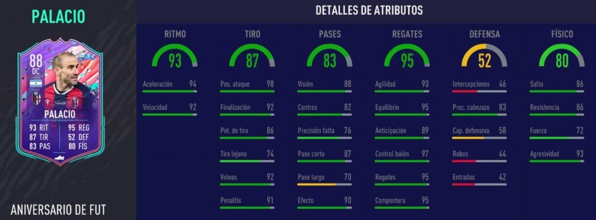 Stats in game de Palacio FUT Birthday FIFA 21 Ultimate Team