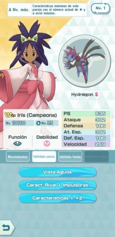 Pokemon Masters EX Iris y Hydreigon habilidades