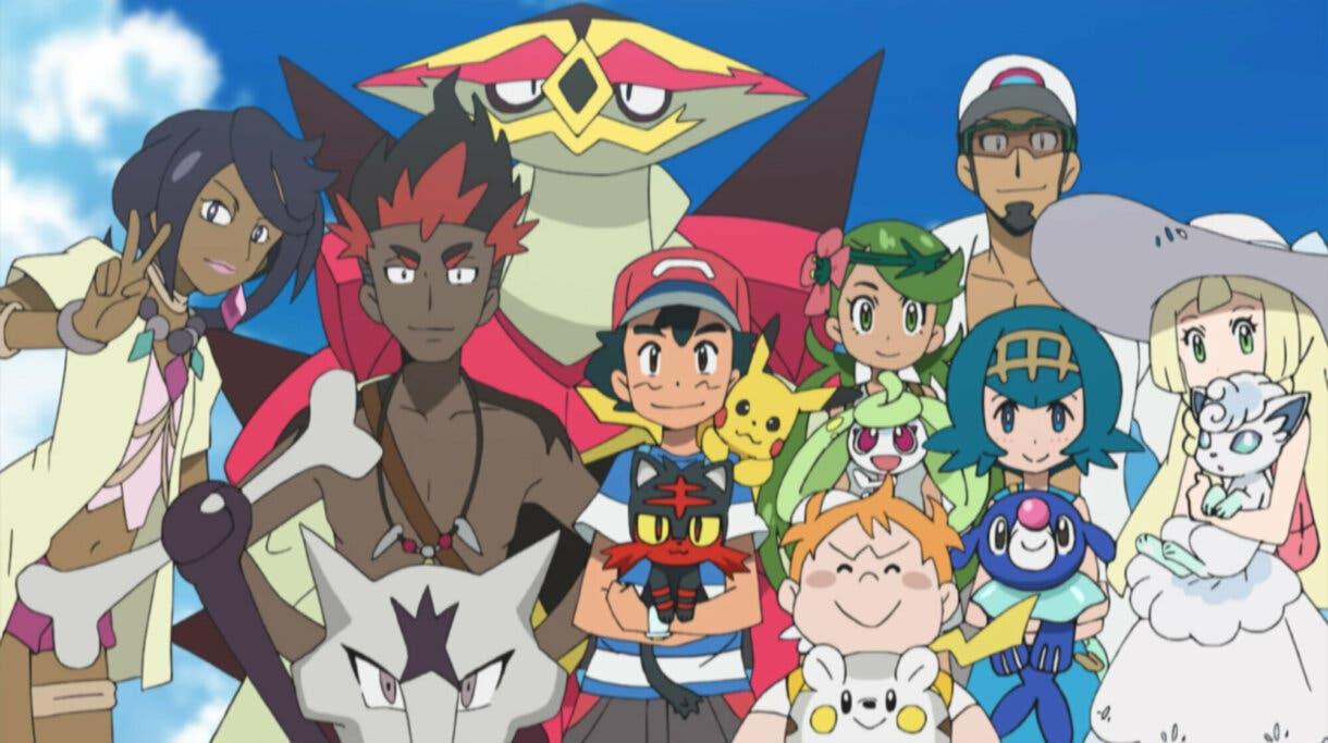 anime de Pokemon Alola Ash Lulu Kiawe Lylia Chris Nereida Kukui Mayla