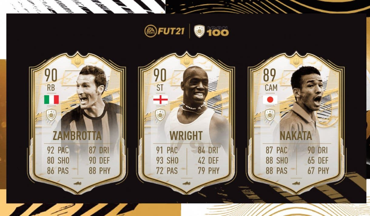 FIFA 21 Ultimate Team Iconos Moments tercera tanda ya disponibles. Medias y stats de Zambrotta, Wright, Nakata