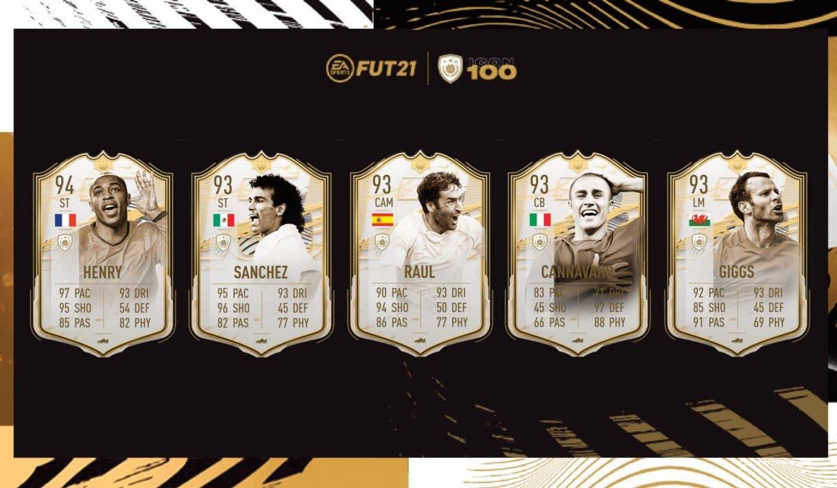 FIFA 21 Ultimate Team Iconos Moments tercera tanda ya disponibles. Medias y stats de Henry, Sánchez, Raúl, Cannavaro y Giggs
