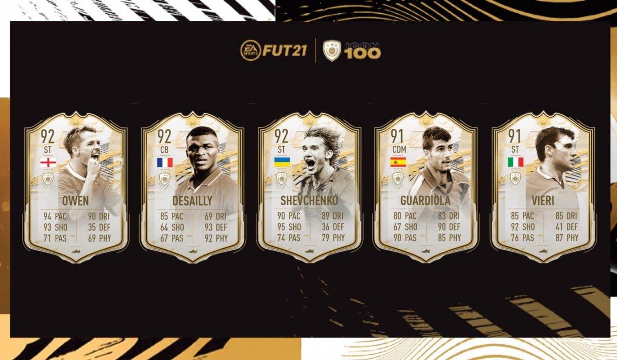 FIFA 21 Ultimate Team Iconos Moments tercera tanda ya disponibles. Medias y stats de Owen, Desailly, Shevchenko, Guiardiola y Vieri