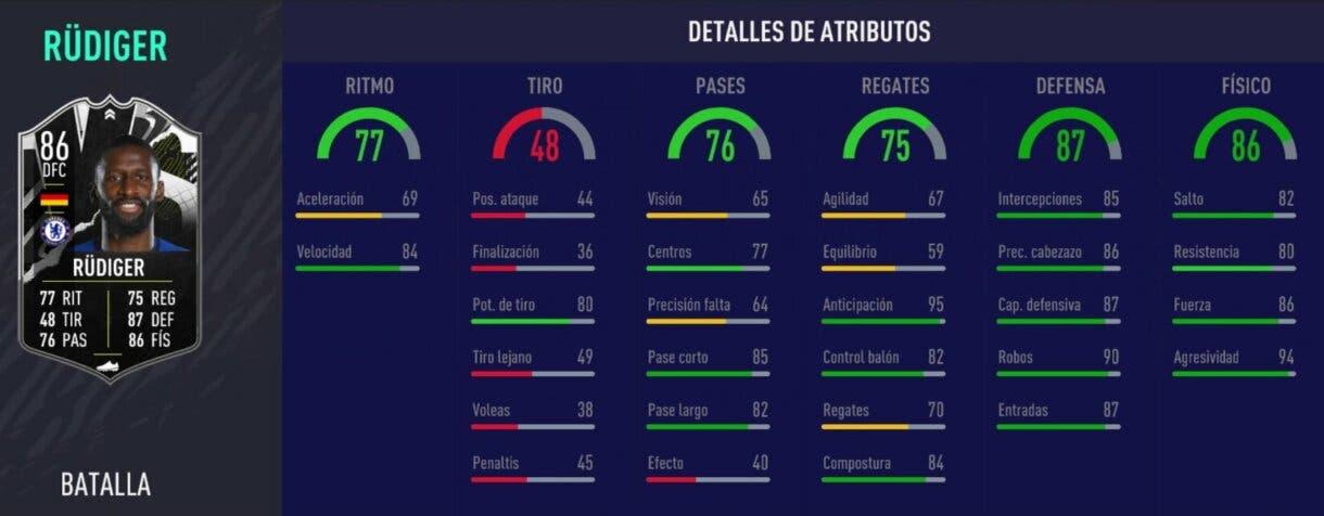 Stats in game de Antonio Rüdiger Showdown FIFA 21 Ultimate Team