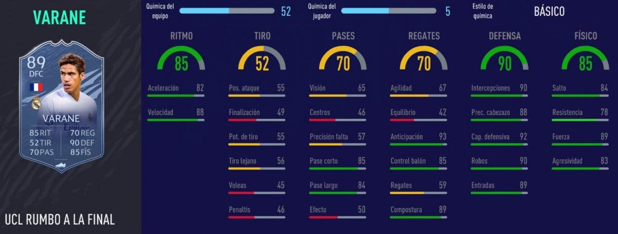 FIFA 21 Ultimate Team mejores centrales Liga Santander para cada presupuesto stats in game Varane RTTF