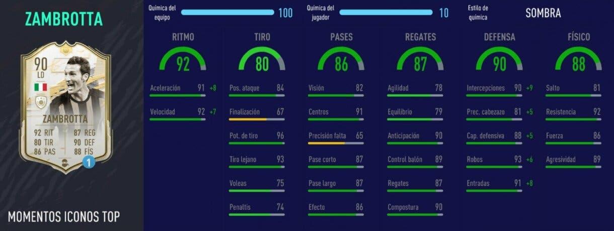 Stats in game de Zambrotta Moments. FIFA 21 Ultimate Team Icono SBC