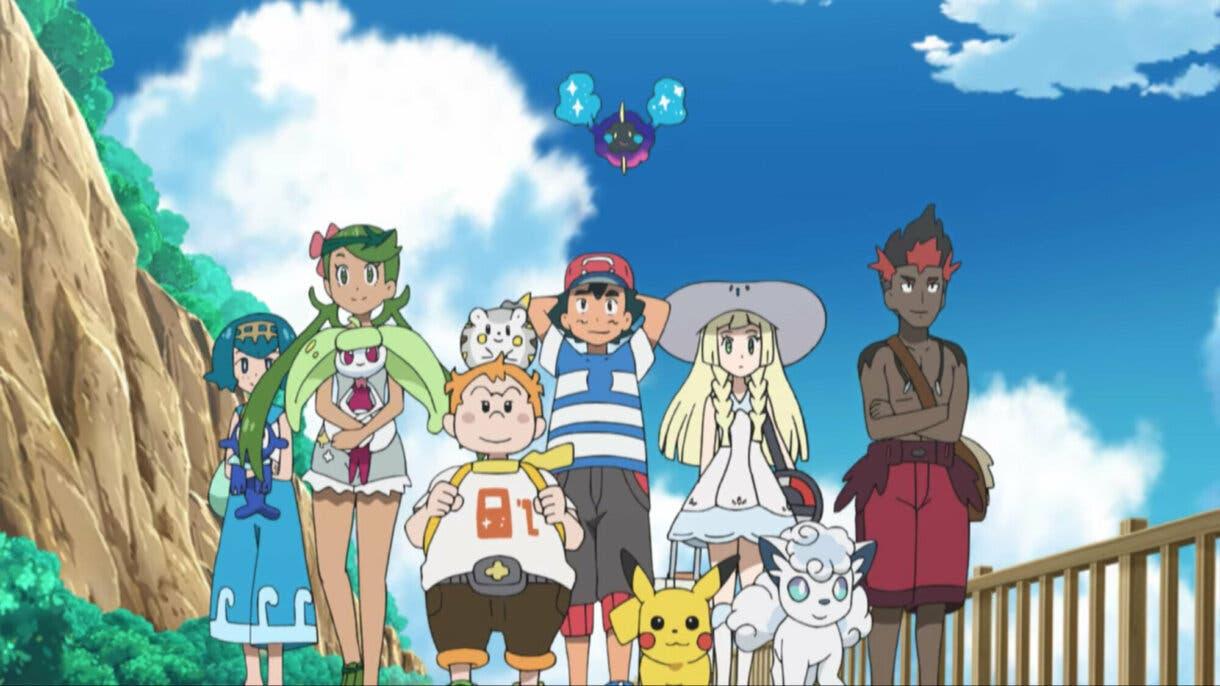anime de Pokemon Alola Ash Lylia Kiawe Lulu Nereida Chris