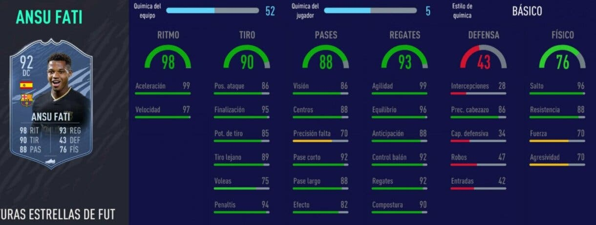 FIFA 21: los mejores delanteros de la Liga Santander relación calidad/precio stats in game Ansu Fati Future Stars