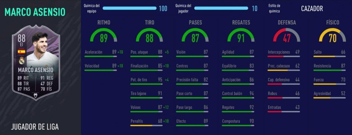 Stats in game de Marco Asensio Jugador de Liga. FIFA 21 Ultimate Team