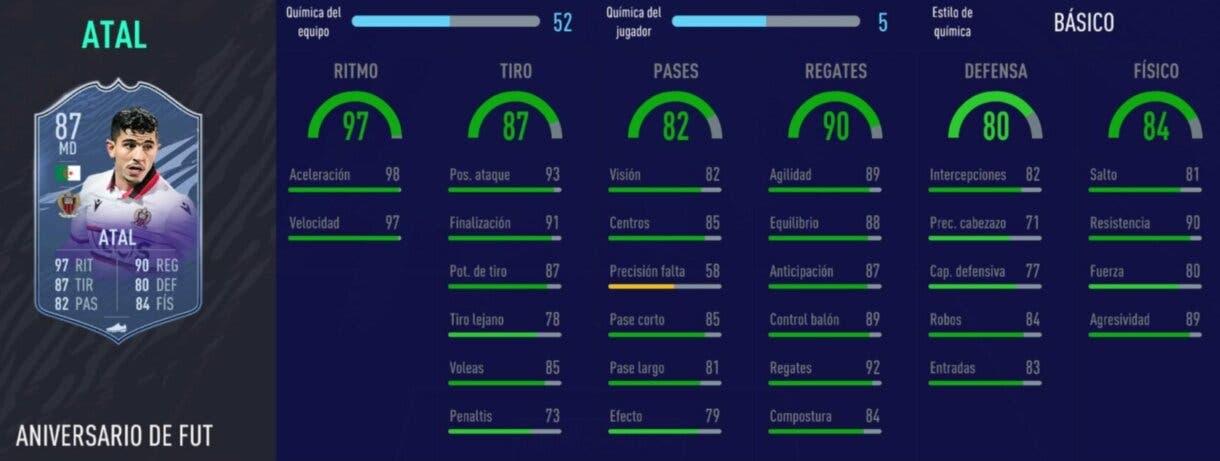 FIFA 21: diez cartas competitivas a buen precio para el extremo derecho Stats in game de Atal FUT Birthday