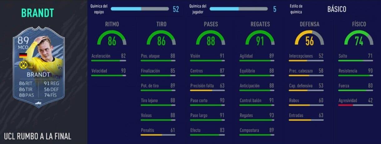 FIFA 21 Ultimate Team cartazas competitivas y baratas, por menos de 100.000 monedas. Stats in game de Brandt RTTF