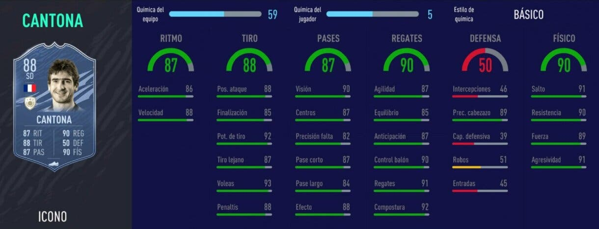 FIFA 21 Ultimate Team atacantes Iconos que ahora son más interesantes stats in game de Cantona Baby