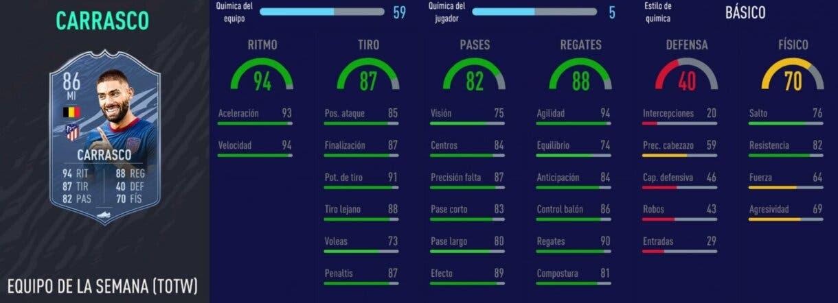 FIFA 21 Ultimate Team Liga Santander mejores extremos izquierdos stats in game Carrasco SIF