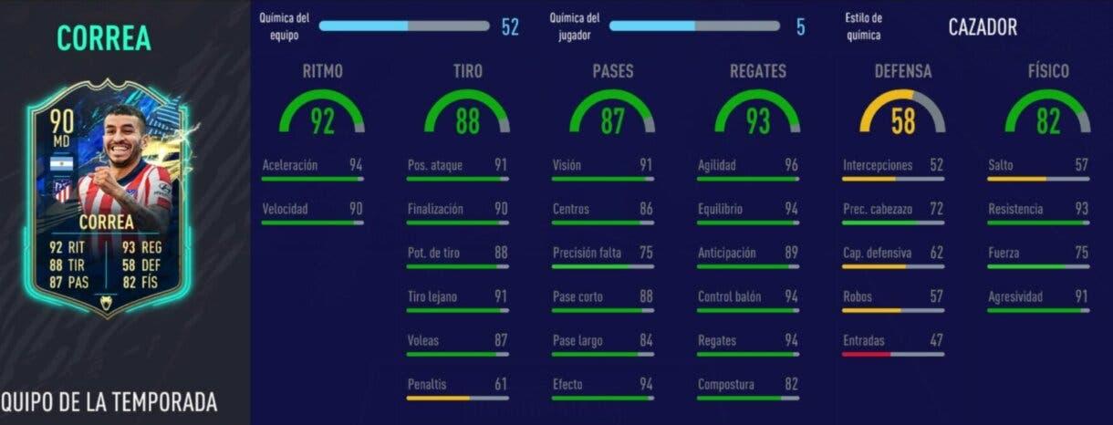 FIFA 21: diez cartas competitivas a buen precio para el extremo derecho Stats in game de Correa TOTS