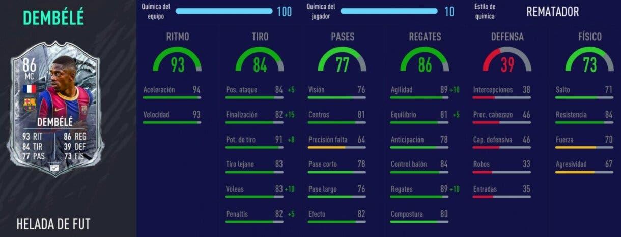 FIFA 21 Ultimate Team mejores mediapuntas y delanteros centros de la Liga Santander. Stats in game Dembélé Freeze