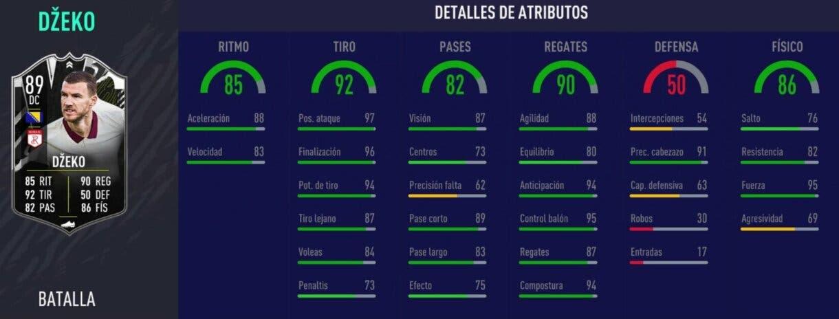 FIFA 21 Ultimate Team Stats in game de Dzeko Showdown