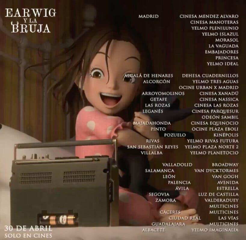 Earwig y la Bruja cines estreno 1