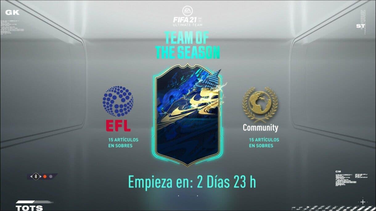 FIFA 21 Ultimate Team TOTS pantalla de carga Equipo de la Comunidad y de la EFL quince jugadores transferibles.