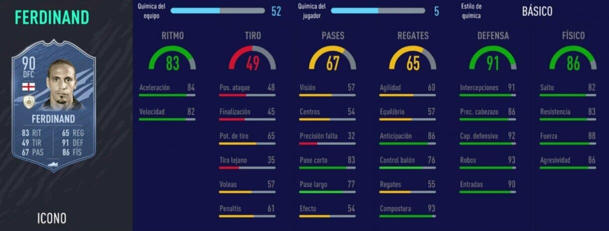 FIFA 21 Ultimate Team centrales Iconos que han bajado de precio y ahora son interesantes. Stats in game Ferdinand Prime