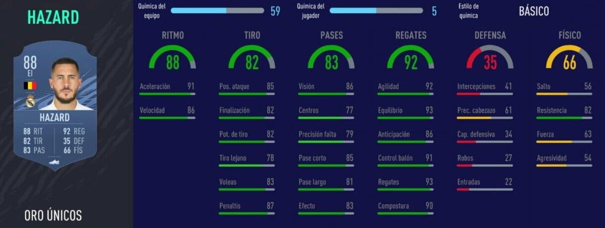 FIFA 21 Ultimate Team Liga Santander mejores extremos izquierdos stats in game Hazard oro