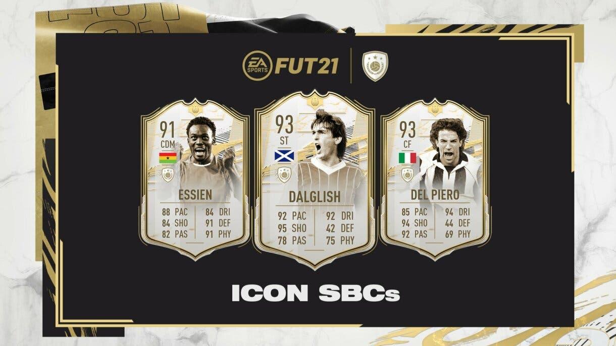 FIFA 21 Ultimate Team nueva tanda de Iconos Moments SBC. Michael Essien, Kenny Dalglish y Alessandro Del Piero