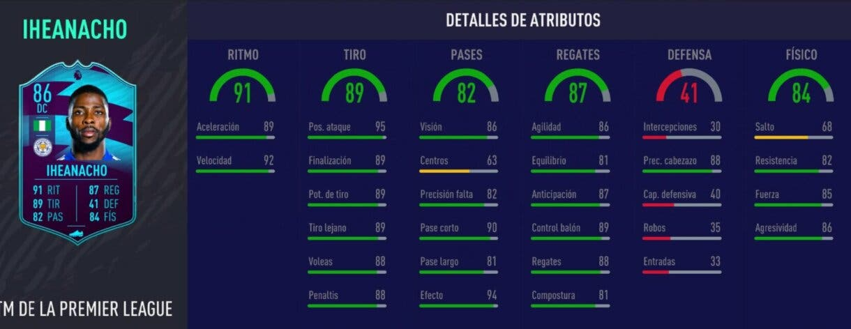 FIFA 21 Ultimate Team. Stats in game de Iheanacho POTM.