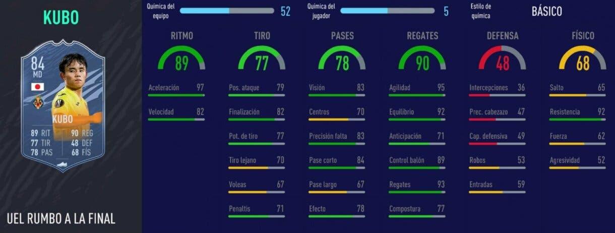 FIFA 21 Ultimate Team Liga Santander mejores extremos derechos stats in game de Kubo RTTF
