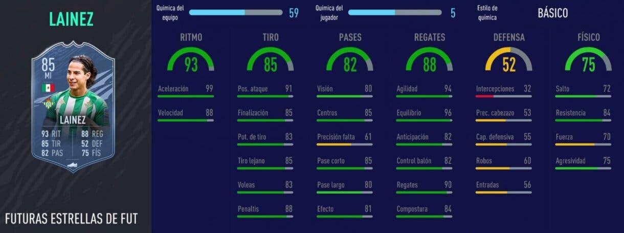 FIFA 21 Ultimate Team Liga Santander mejores extremos izquierdos stats in game Diego Lainez Future Stars