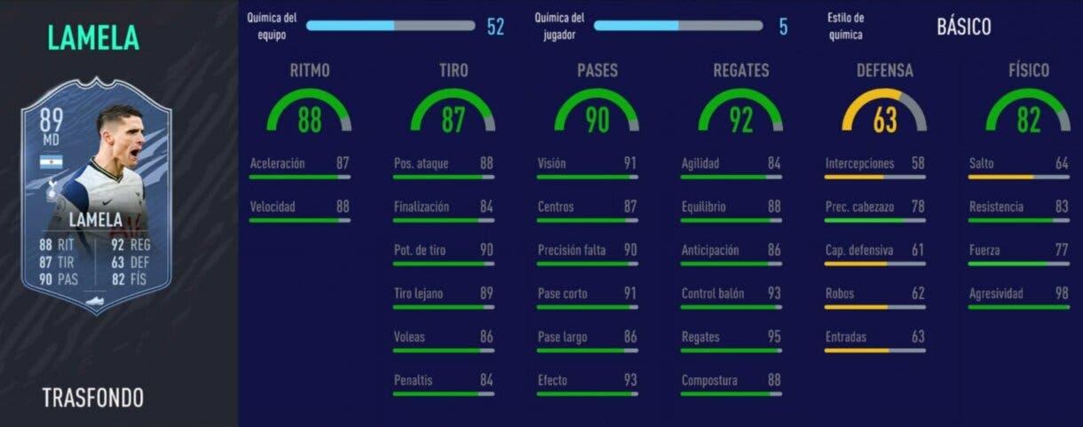 FIFA 21: ¿Cuál es la recompensa más interesante? Análisis cartas Trasfondo nivel treinta de la quinta temporada Erik Lamela Stats in game