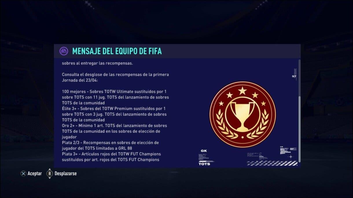 FIFA 21 Ultimate Team nuevas recompensas FUT Champions durante el TOTS.