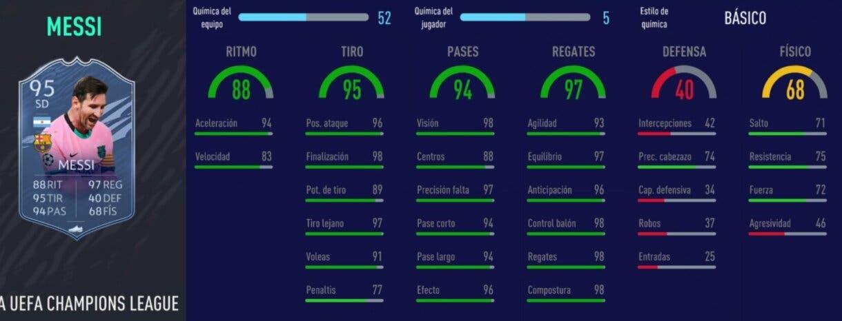 FIFA 21 Ultimate Team equipo competitivo para FUT Champions y Division Rivals con Messi TOTGS y Cristiano Ronaldo stats in game del propio Messi