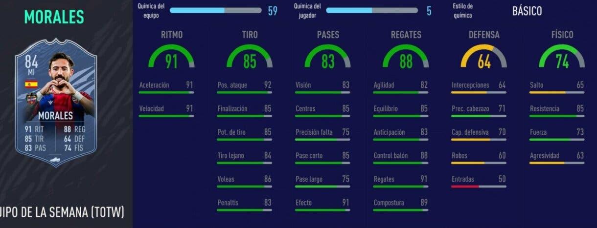FIFA 21 Ultimate Team Liga Santander mejores extremos izquierdos stats in game Morales SIF