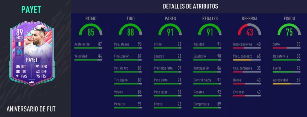 Stats in game de Payet FUT Birthday. FIFA 21 Ultimate Team