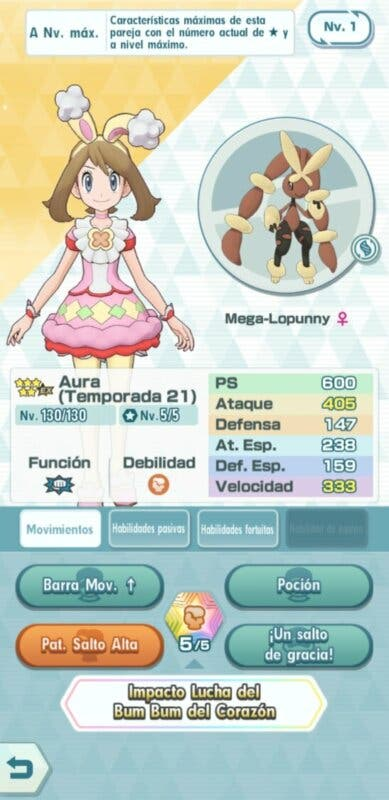 Pokemon Masters EX Aura y Mega-Lopunny